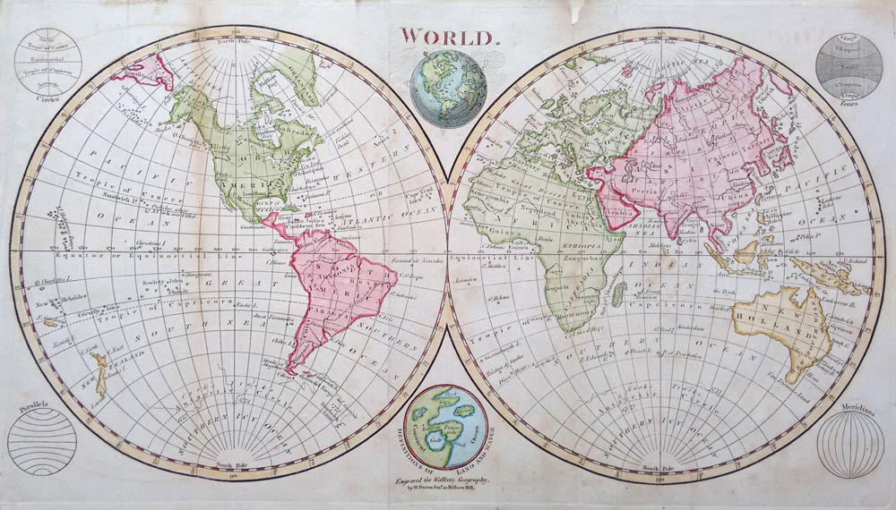 Antique world maps 18th and 19th century for sale twin hemisphere map of the world for sale gumiabroncs Images