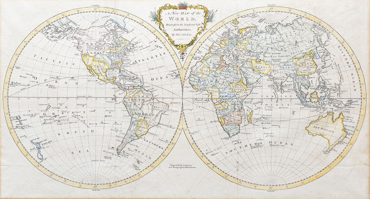 World Map  Twin Hemispheres - Kitchin