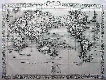 Antique map of the World by John Rapkin 1862