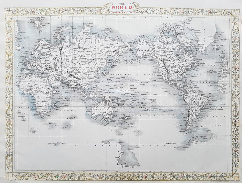 Decorative 19th Century Map of The World by John Rapkin