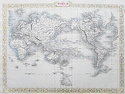 Antique map of the World by John Rapkni for sale