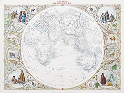 Antique Map of the World - Rapkin 1850
