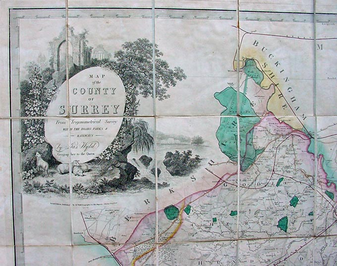 Antiquarian County Map Surrey