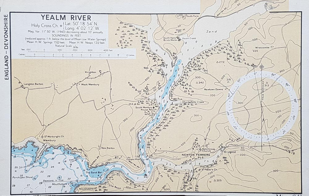 World War II Nautical Chart of the River Yealm