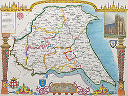 Yorkshire East Riding map by Thomas Moule for sale